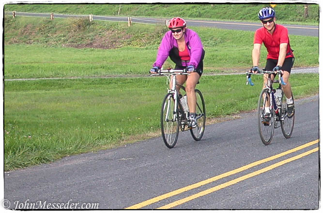Cyclists on a rural Adams County road