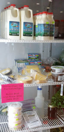 Fresh raw milk awaits in Oyler's Organic Farm's refrigerator