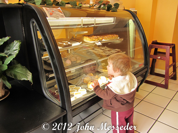 A youngster gazes through his reflection at cupcakes and other pastries behind the glass case