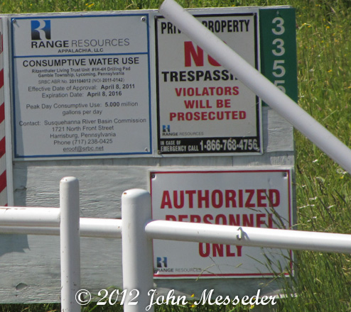 Sign identifies Range Resources drill site and DCNR permit for five million gallons a day water use