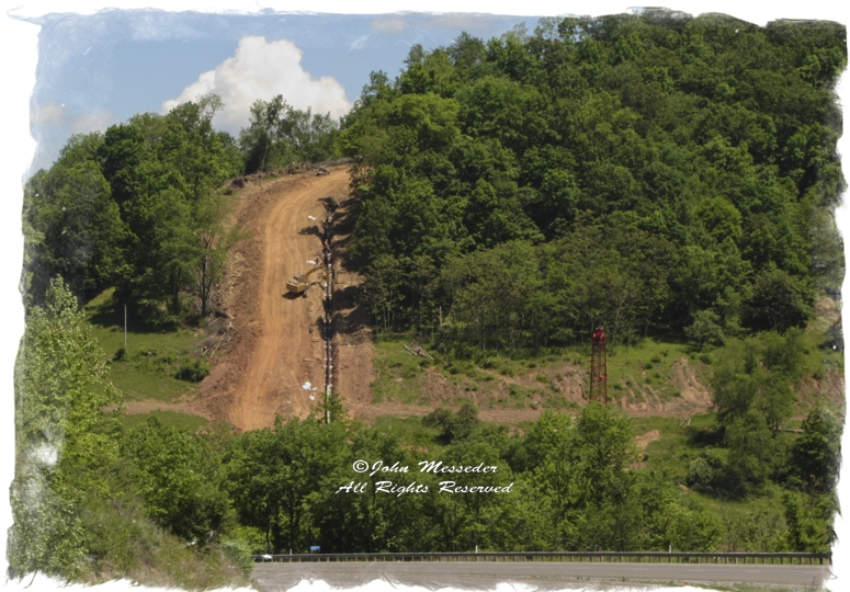 Seen from the Interstate, a West Virginia pipeline will carry natural gas mostly bound for export.