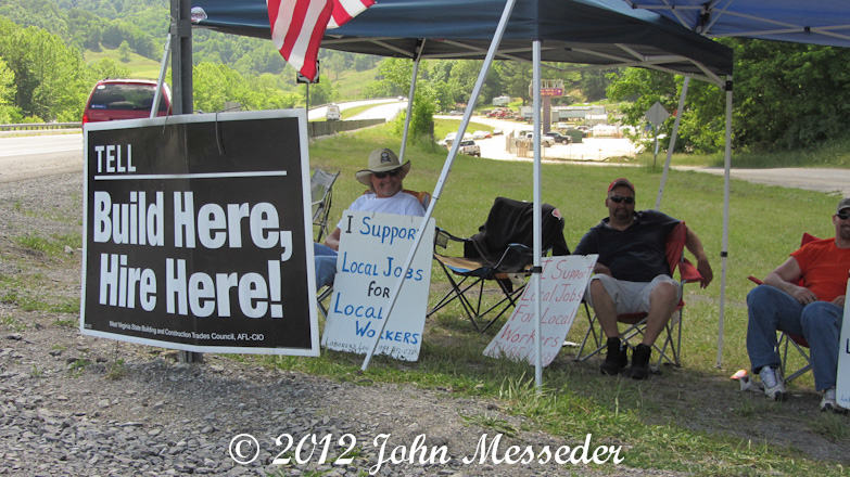 A quarter mile from a Marcellus Shale job site, West Virginia union workers protest imported laborers
