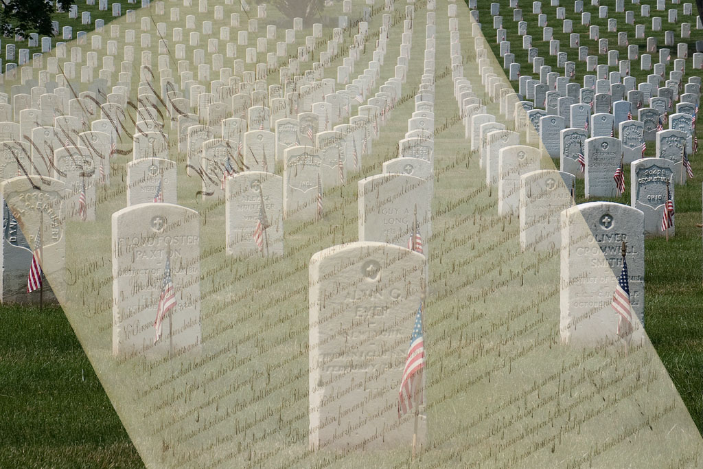 Millions of headstones mark those who have deied to protect the U.S. Constitution